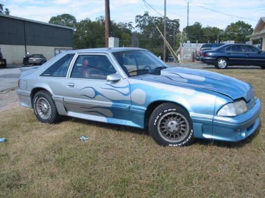 1989 Ford Mustang 5.0 HO Automatic - Silver/Blue Flame - Image 1