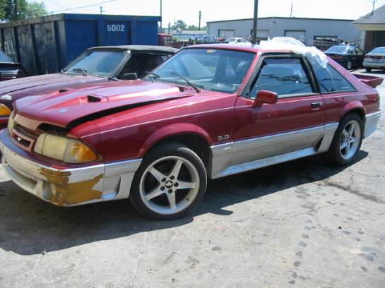 1992 Ford Mustang 5.0 T-5 5-Speed - Scarlet / Silver - Image 1